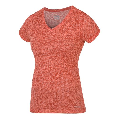 Womens Saucony Daybreak Short Sleeve Technical Tops - Firecracker S