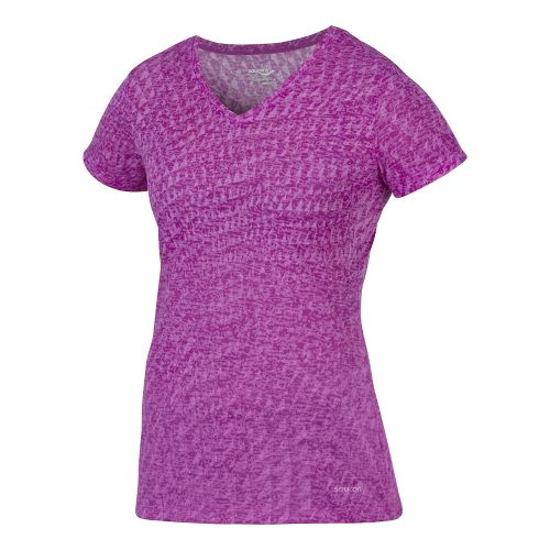 Womens Saucony Daybreak Short Sleeve Technical Tops - Passion Purple L