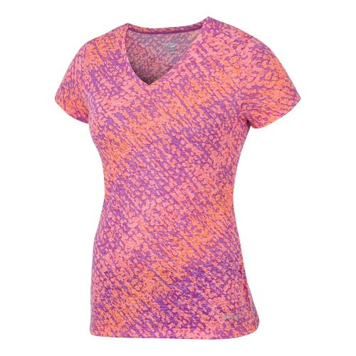 Womens Saucony Daybreak Short Sleeve Technical Tops - Peace Pigeon/Vizipro Coral XL