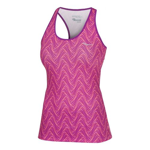 Womens Saucony Print Racer Back Tanks Technical Tops - Passion Purple/Vizipro Coral XS