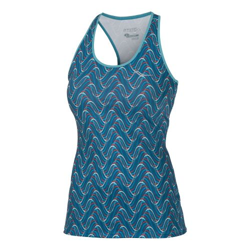 Womens Saucony Print Racer Back Tanks Technical Tops - River/Firecracker M