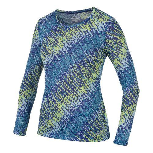 Womens Saucony Daybreak Long Sleeve No Zip Technical Tops - Cobalt/River S