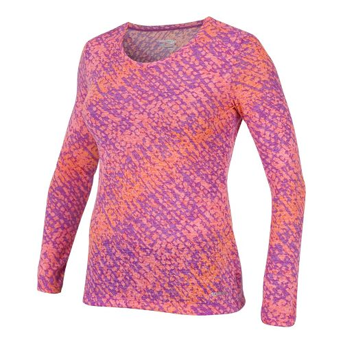 Womens Saucony Daybreak Long Sleeve No Zip Technical Tops - Passion Purple/Vizipro Coral L