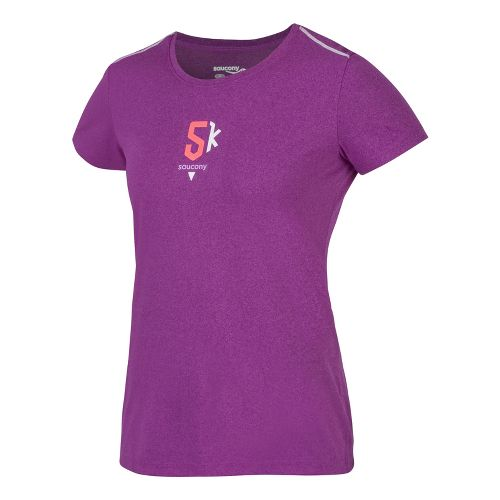 Womens Saucony 5K Milestone Short Sleeve Technical Tops - Passion Purple XS