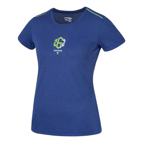 Womens Saucony 26.2 Milestone Short Sleeve Technical Tops - Cobalt L