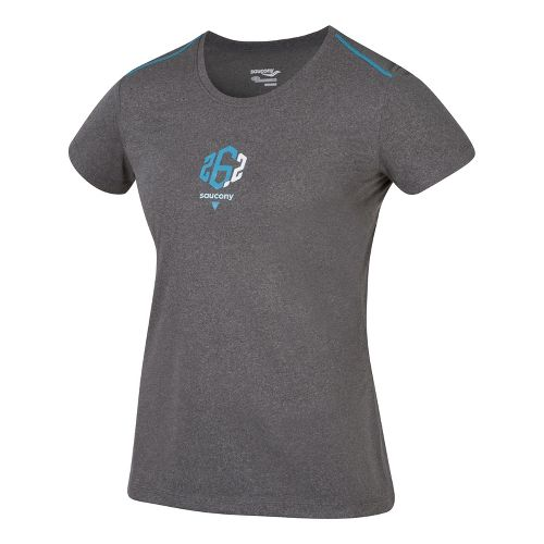 Womens Saucony 26.2 Milestone Short Sleeve Technical Tops - Element Grey M