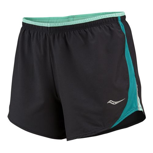 Womens Saucony Run Lux III Lined Shorts - Black/Jade Green L