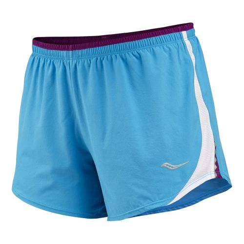 Womens Saucony Run Lux III Lined Shorts - Blue Fire/White S