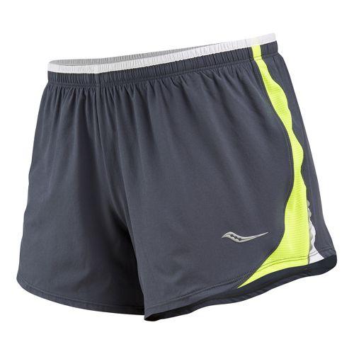Womens Saucony Run Lux III Lined Shorts - Carbon/Vizipro Citron XL