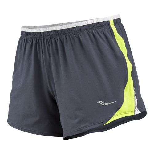 Womens Saucony Run Lux III Lined Shorts - Carbon/Vizipro Citron XS