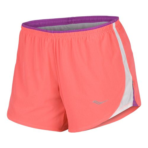 Womens Saucony Run Lux III Lined Shorts - Vizipro Coral/Passion Purple XS