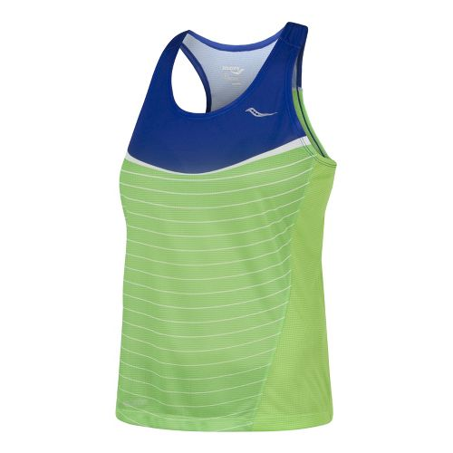 Womens Saucony Ignite Singlets Technical Tops - Cobalt/Acid Green S