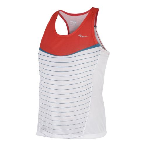 Womens Saucony Ignite Singlets Technical Tops - Firecracker/White S