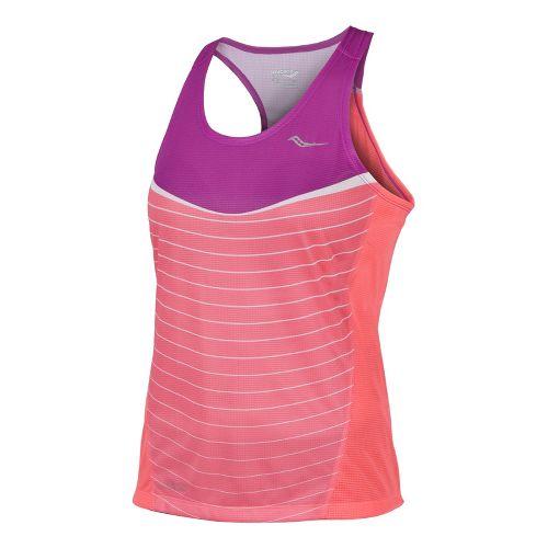 Womens Saucony Ignite Singlets Technical Tops - Passion Purple/Vizipro Coral XL