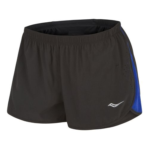 Womens Saucony Ignite Splits Shorts - Black/Cobalt L