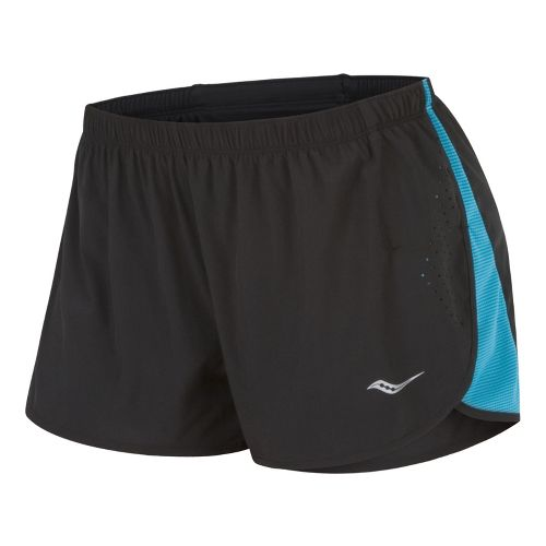 Womens Saucony Ignite Splits Shorts - Black/Oceania XS