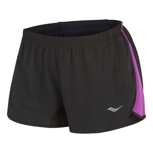 Womens Saucony Ignite Split Shorts - Black/Passion Purple XS