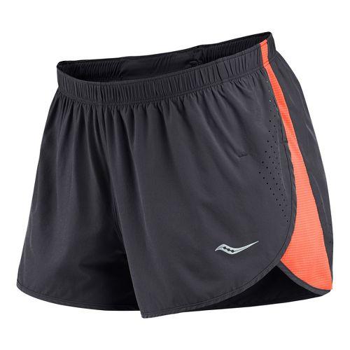 Womens Saucony Ignite Splits Shorts - Black/Vizipro Electric M
