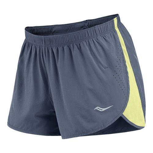 Womens Saucony Ignite Splits Shorts - Carbon/Vizipro Citron M