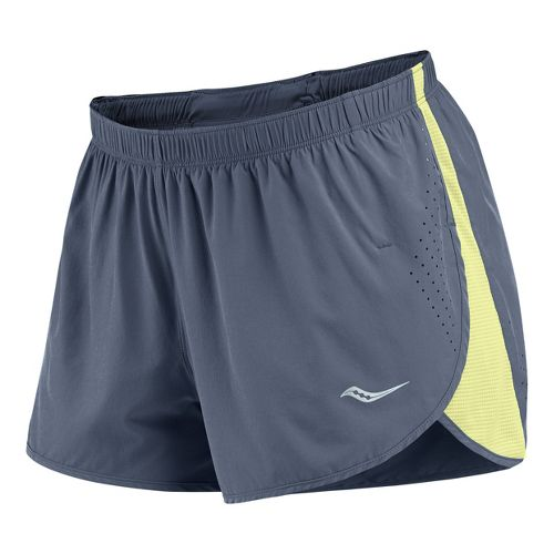 Womens Saucony Ignite Splits Shorts - Carbon/Vizipro Citron XL