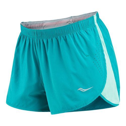Womens Saucony Ignite Splits Shorts - Jade/Sea Green L