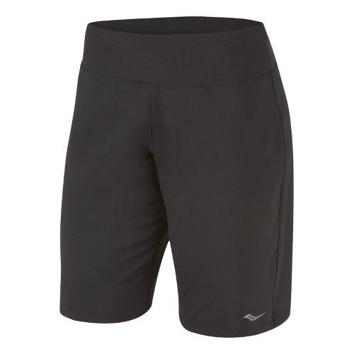 Womens Saucony Cha Cha Long Unlined Shorts - Black XXL