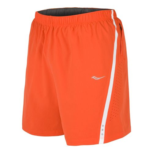 Mens Saucony Run Lux III Lined Shorts - Atomic Orange/White L