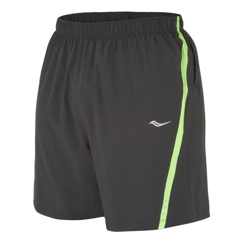 Mens Saucony Run Lux III Lined Shorts - Black/Acid Green L