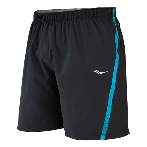 Mens Saucony Run Lux III Lined Shorts - Black/Blue Fire XXL