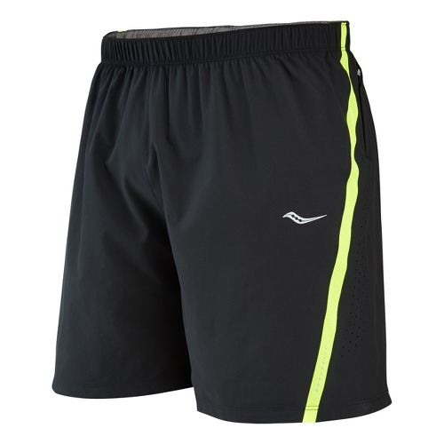 Mens Saucony Run Lux III Lined Shorts - Black/Vizipro Citron XXL