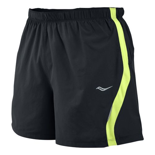 Mens Saucony Throttle Lined Shorts - Black/Vizipro Citron XL