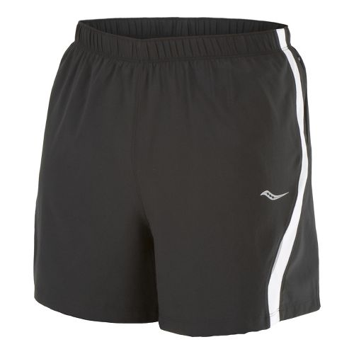 Mens Saucony Throttle Lined Shorts - Black/White S