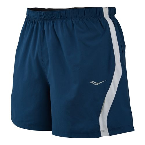 Mens Saucony Throttle Lined Shorts - Tek Navy/White M