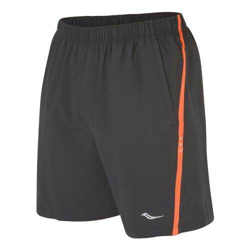 Mens Saucony Cohesion Lined Shorts - Black/Atomic Orange S