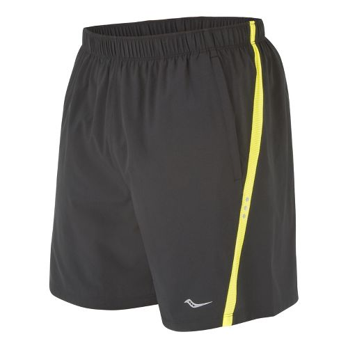 Mens Saucony Cohesion Lined Shorts - Black/Blazing Yellow S