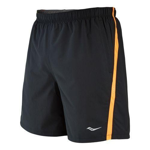 Mens Saucony Cohesion Lined Shorts - Black/Vizipro Orange L