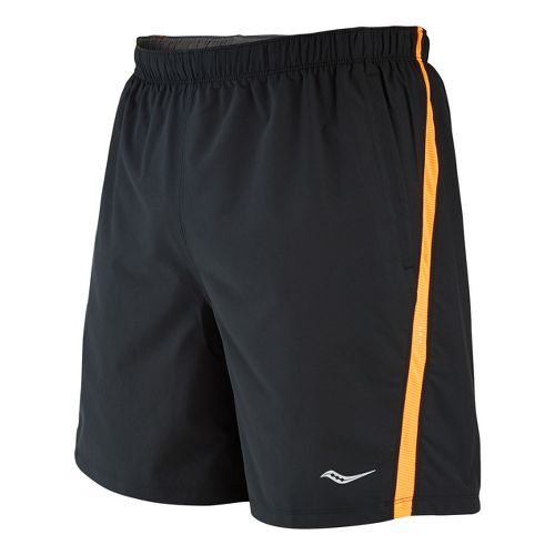 Mens Saucony Cohesion Lined Shorts - Black/Vizipro Orange XL