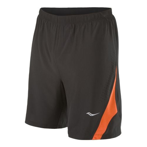 Mens Saucony Interval 2-in-1 Shorts - Black/Atomic Orange S
