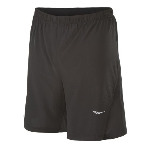 Mens Saucony Interval 2-in-1 Shorts - Black/Black L