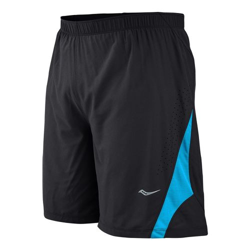 Mens Saucony Interval 2-in-1 Shorts - Black/Blue Fire L