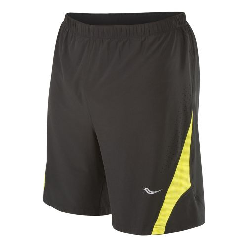 Mens Saucony Interval 2-in-1 Shorts - Black/Blazing Yellow XL