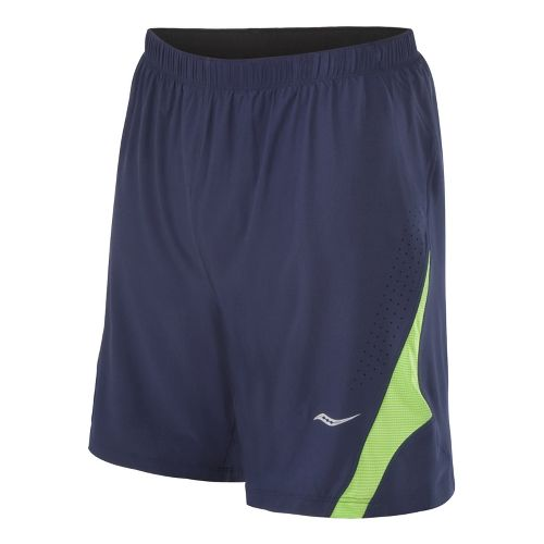 Mens Saucony Interval 2-in-1 Shorts - Navy/Acid Green M