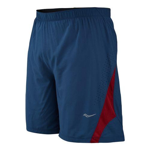 Mens Saucony Interval 2-in-1 Shorts - Tek Navy/Crimson M