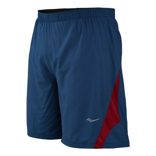 Mens Saucony Interval 2-in-1 Shorts - Tek Navy/Crimson XXL