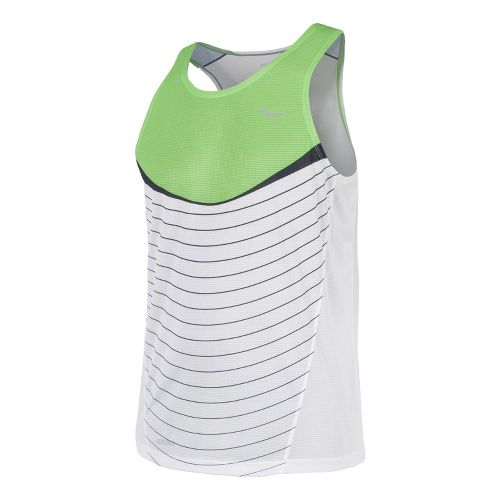 Mens Saucony Inferno Singlets Technical Tops - Acid Green/White M