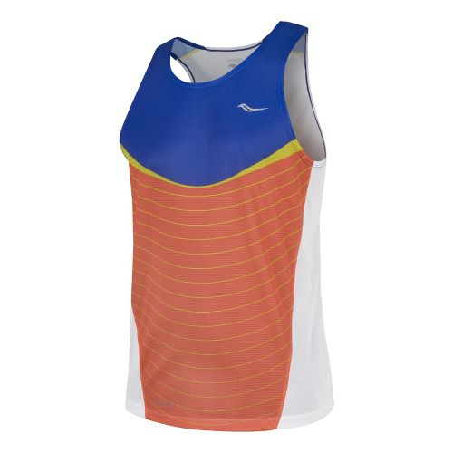 Mens Saucony Inferno Singlets Technical Tops - Cobalt/Vizipro M