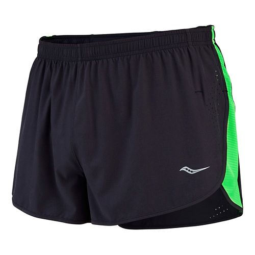 Mens Saucony Inferno Split Shorts - Black/Slime XXL