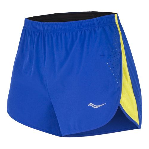 Mens Saucony Inferno Splits Shorts - Black/Blazing Yellow L