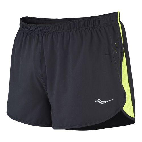 Mens Saucony Inferno Splits Shorts - Black/Vizipro Orange L