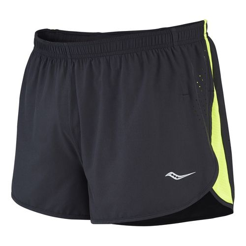 Mens Saucony Inferno Splits Shorts - Black/Vizipro Orange S